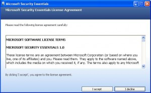 Accept the Security Essentials License Terms