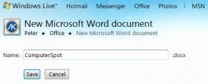 Windows Live - Save Document