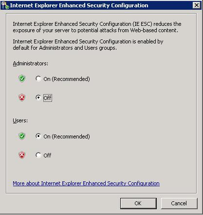 Disable Internet Explorer Enhanced Security Configuration in Windows 2008 - for Administrators