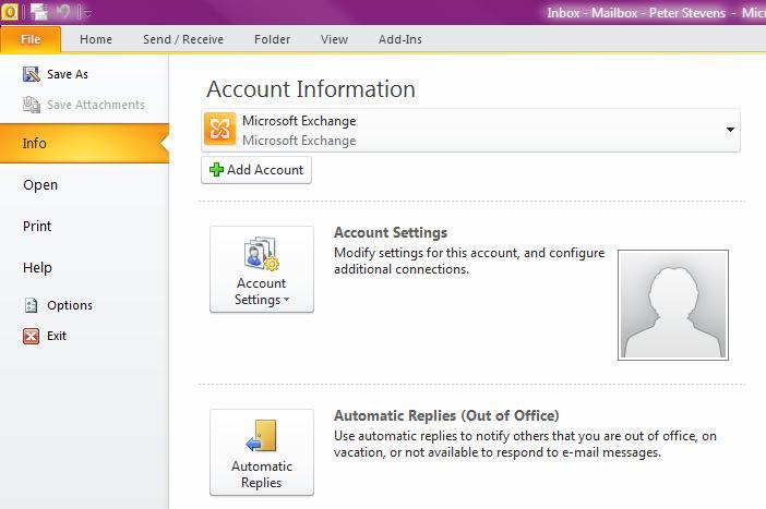 Outlook Anywhere File Menu