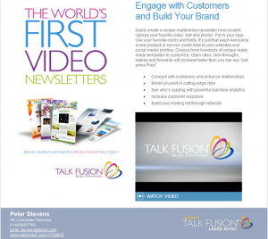 VideoNewsletter 300x268 Video Newsletters from Talk Fusion